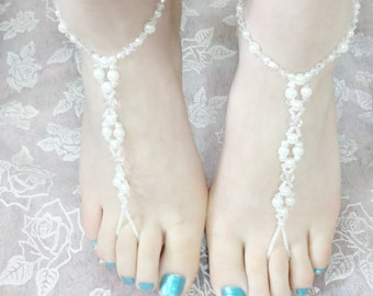 Bridal Barefoot Sandals - White - Barefoot Sandals - Pearl