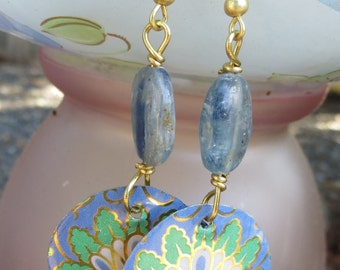 Upcycled Vintage Tin Earrings Blues and Greens with Kyanite