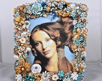 New Addition Outrageously Gorgeous Massive Vintage Bejeweled and Dazzling OOAK Picture Frame