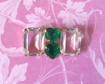 Retro Big Crystal & Green Emerald cut / heart shaped Rhinestone Brooch / Pin