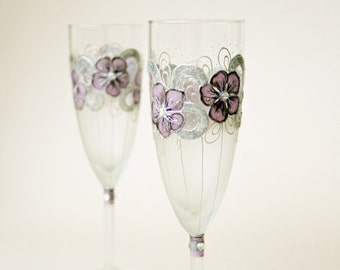 Wedding Glasses, Champagne Glasses, Flute, Hand Painted, set of 2