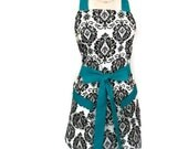 Classic Apron, retro Black and White Damask Apron, Teal Ties, matching pockets, cute apron for women, bridal shower gift, sexy kitchen apron