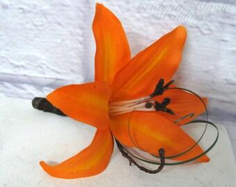 Silk Boutonniere orange tiger lily wedding boutonnieres prom