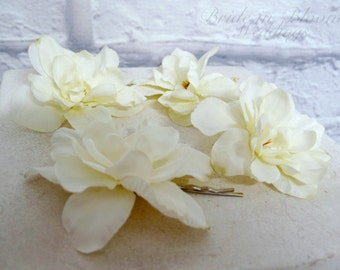 Bridal hair accessories, Ivory hair flower, Wedding hair pins