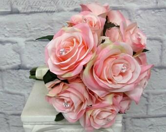 Soft pink rose wedding bouquet, Silk flower bridal bouquet, bridesmaid bouquets