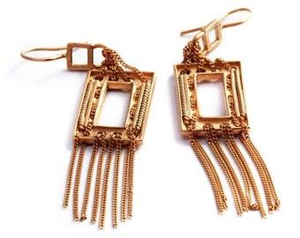 Classic earrings for gift, Rose gold plated silver, Contemporary chandelier earrings, Big earrings, Detailed earrings, Statement earrings