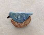 Porcelain Nesting Bird Brooch/Pin