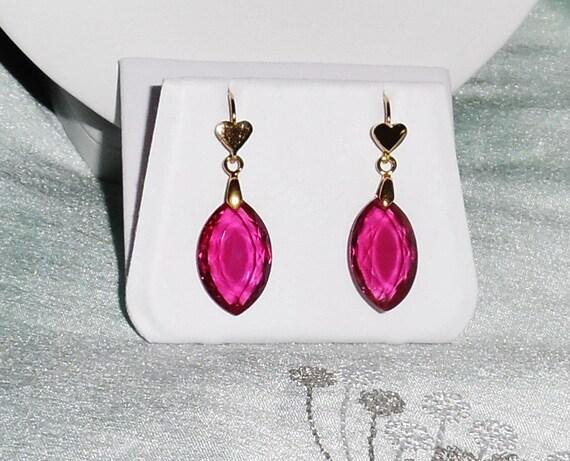 "GENUINE 37 cts Raspberry Pink Kunzite Marquise gemstones, 14kt yellow gold heart pierced earrings 1 3/8"" long"