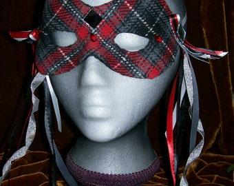 Wool plaid harlequin mask