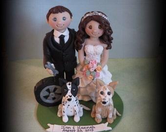 Wedding Cake Topper, Custom Cake Topper, Personalized, Polymer Clay, Tire, wrench, dog, Wedding/Anniversary Keepsake