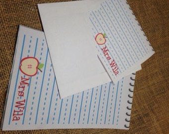 Personalized, Note Pad, Teachers Love  Tablets, Apples, Notepads and Notecards Sets for Back to School Teacher Gift