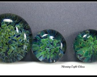 Cabochon - Boro Lampwork Glass Frit Jewelry Making Beads- Blue Planet Set