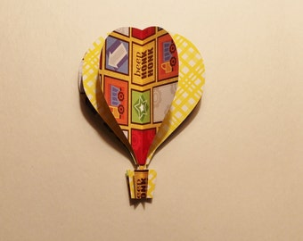 3d Hot Air Balloon -  yellow,green, orange, trucks, words, arrows