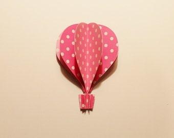 3d Hot Air Balloon -light and dark pink, polka dots