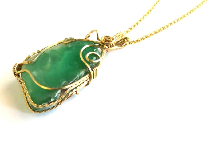 Free Chain with Australian Chrysoprase Pendant in 14 k Gold Filled, Gift Idea for woman, Rustic Jewelry, Green Pendant, Statement Necklace