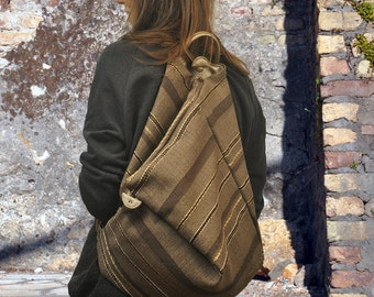 Handmade Backpack in striped cotton canvas with leather in golden tone, Made to order