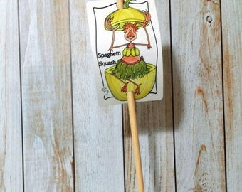 Garden Sign Spaghetti Squash Metal Sign on Bamboo Stake UV Protected Against Fading 2x3 sign 12 inch stake Customizable