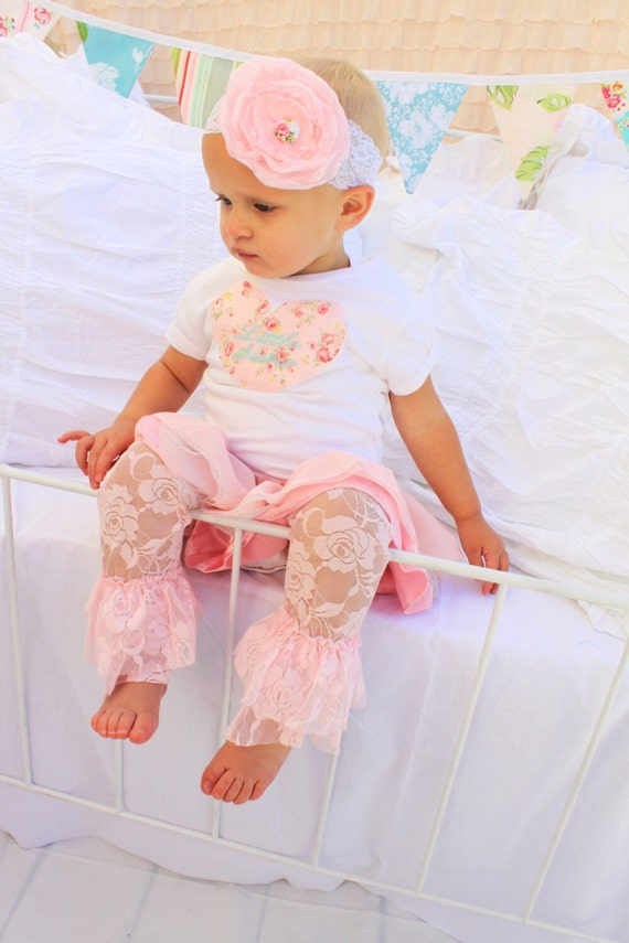 Valentine's Baby Girl Outfit Lace Leg Warmers Personalized Heart Bodysuit Headband Wedding Flower Girl Mommy and me Match Coming Home Outfit