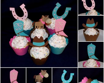 Cowgirl Cupcake Topper Cupcake Decoration Food Pick Horse Boot Hat Horseshoe Party Pick Birthday Baby Shower Pink and Teal Cupcake Wrapper