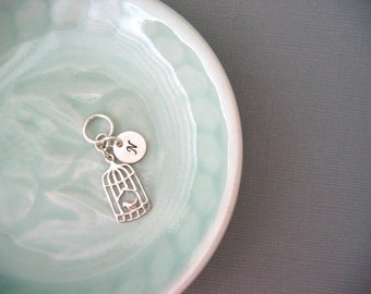 Sterling Silver Mother Bird Cage Charm with Custom Initial Charm -- Charm ONLY