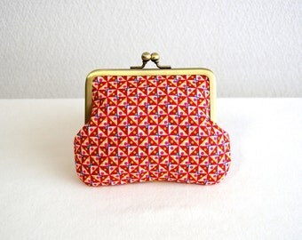 Modern geometric coin purse - red, frame purse, clasp purse