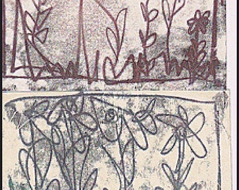 Monoprint Flower Pattern Birthday Greetings Card // Printmaking Modern Art Print