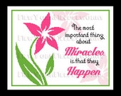 Miracles Happen Cross Stitch, Religious Cross Stitch, Flower Cross Stitch, Saying, Modern Cross Stitch, Christian Pattern NewYorkNeedleworks