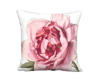 Pillow Cover - Pillow - Pink Peony Flower Cottage Pink Flower - 16x 18x 20x 22x 24x 26x 28x Inch Linen Cotton Cushion Cover