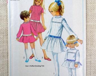 Vintage Simplicity 7921 Girls 1960s dress pattern size 2 chest 21 drop waist Edwardian high neck Ruffle Uncut