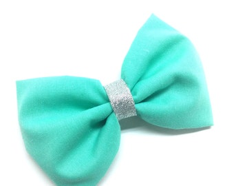 Mint Green and Silver Fabric Hair Bow Clip-SALE