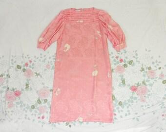 80's Flora Kung Pink Silk Dress / 1980's Rose Floral Avant Garde Dress / Burnout / Column / Pastel / Origami / Fluttery / M / L / 8