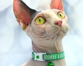 Chevron Cat Collar - Kelly Green - Kitten/ Small Cat or Large Size Collar