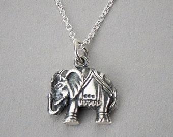 Sterling Silver Elephant Necklace - Yoga Jewelry. Outdoor & Sportsman. Gift Ideas for Her