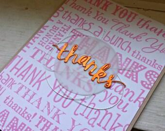 Metallic Thank You Cards Set of 6 Various Colors