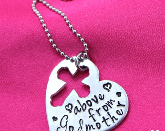 Hand stamped Godmother from above heart necklace