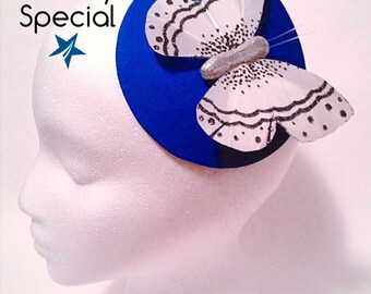 CMTA blue butterfly fascinator hat. 50% of sale goes to charity.