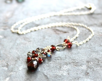 Garnet Necklace Labradorite Sterling Silver Deep Red Gray Gemstone Briolette Necklace January Birthstone