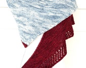 Hand Knit Grey and Red Triangle Shawl Wrap Unique Scarf Prayer Shawl Handmade Gift
