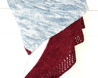 Hand Knit Grey and Red Triangle Shawl Wrap Unique Scarf Prayer Shawl Handmade Gift