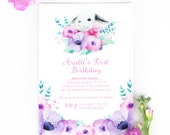 Bunny Invitation, First Birthday Invitation for little girl - watercolour floral invite with cute bunny and bowtie