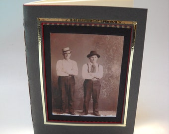 Victorian Two Dudes Gray and Pin Striped Background Notebook