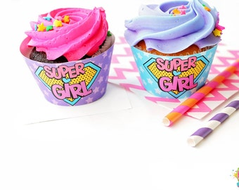 Superhero Cupcake Wrappers / Superhero Party / Superhero Birthday / Girl Superhero / Superhero Printables / INSTANT DOWNLOAD
