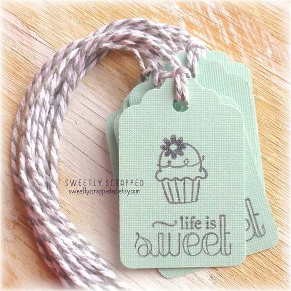 LIFE IS SWEET Cupcake Tags ... Aqua Blue and Grey