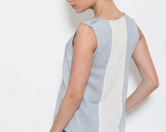 Serenity blue top, Sleeveless gray blouse