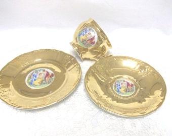 Gold Tea Cup Saucer & Dessert Plate Bernadotte De Boheme /