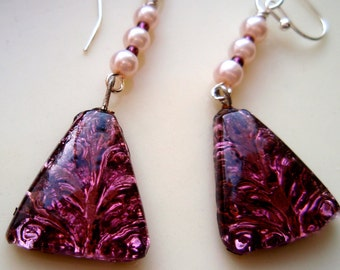 Brushed Plum and Pink Earrings