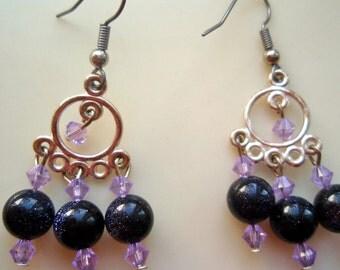 Purple Star Earrings, Purple Chandelier Earrings, Lavender and Purple Earrings