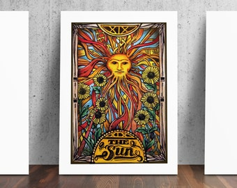 The Sun / Sunshine Sunflower Tarot Card Number Nineteen Art Print