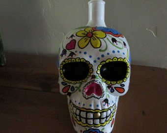 Day of the Dead Sugar Skull Glass Bottle Hand Painted