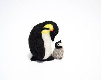 Felted Penguin and Chick - Needle Felted Animal Set - Baby Penguin - Emperor Penguin